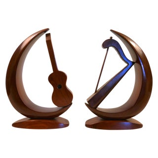 Mid-Century Carved Instrument Bookends - A Pair