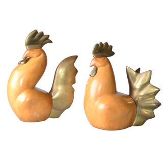 Wooden Rooster & Chicken Figurines - A Pair
