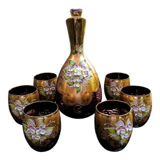 Vintage Venetian Murano Barbini Decanter & Glass Set - Set of 7