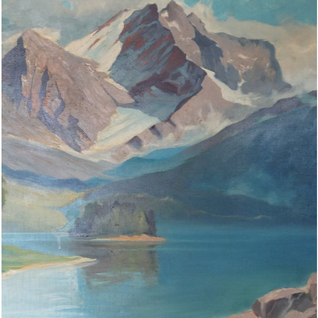 1950 Mountain Range Landscape Oil Painting - Image 2 of 10