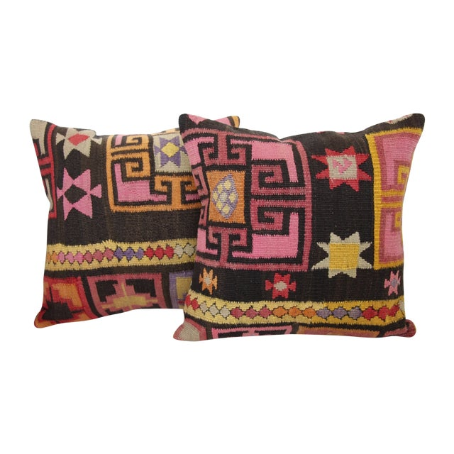 Pink Turkish Kilim Cushions - Pair - Image 1 of 6