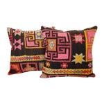 Image of Pink Turkish Kilim Cushions - Pair
