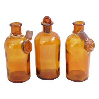 Amber Antique French Apothecary Bottles - Set of 3