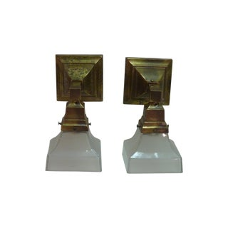 Brass Sconces With Glass Shades - Pair