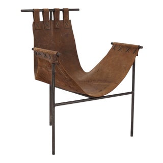 Iron and Saddle Leather Sling Chair