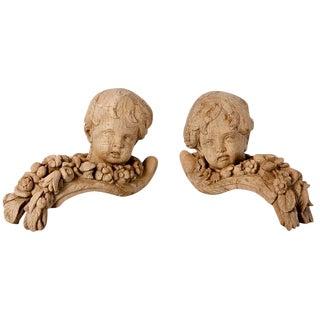 19th Century Bleached Oak Carved Cherubs - A Pair