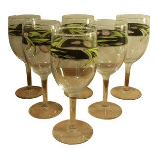 Floral Design Wine Glasses - Set of 6