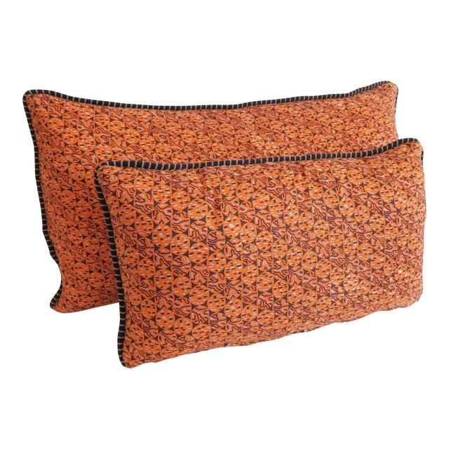Custom Orange Pattern Pillows - a Pair - Image 1 of 4