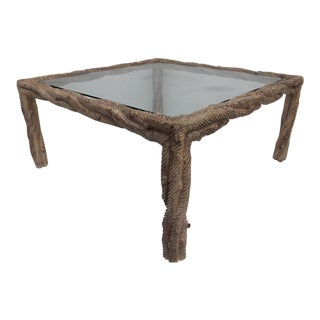Italian Hollywood Regency Carved Wood Square Coffee Table .