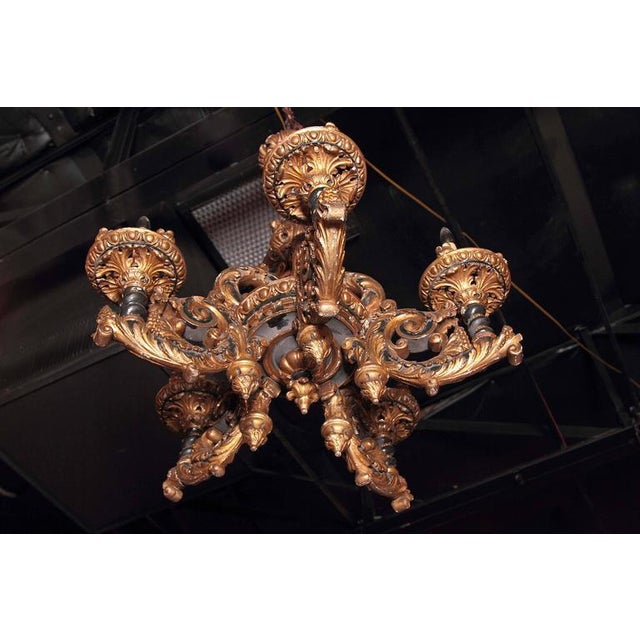 Italian Carved Wood Chandelier - Image 3 of 9