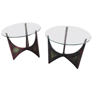 BRUTALIST PAIR OF IRON END OR SIDE TABLES IN THE STYLE OF PAUL EVANS