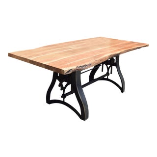 Industrial Style Acacia Wood Top Cast Iron Crank Table