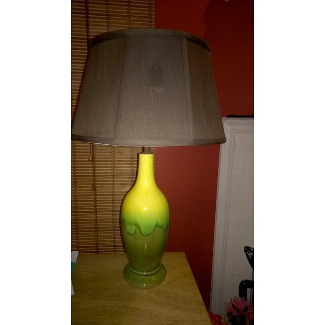 Mid-Century Green Glazed Pottery Table Lamp - Image 5 of 6