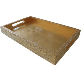 Gold Leaf and White Cracked Eggshell Tray