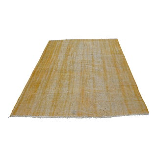 Vintage Yellow Handwoven Turkish Oushak Rug - 6′3″ × 7′6″