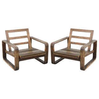 Vintage Teak and Reclaimed Wood Chairs, 1950s, USA