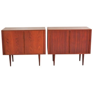 Arne Vodder Style Modern Teak Tambour Door Cabinets - A Pair