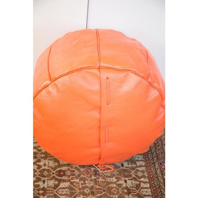Antique Leather Moroccan Pouf - Orange - Image 8 of 8