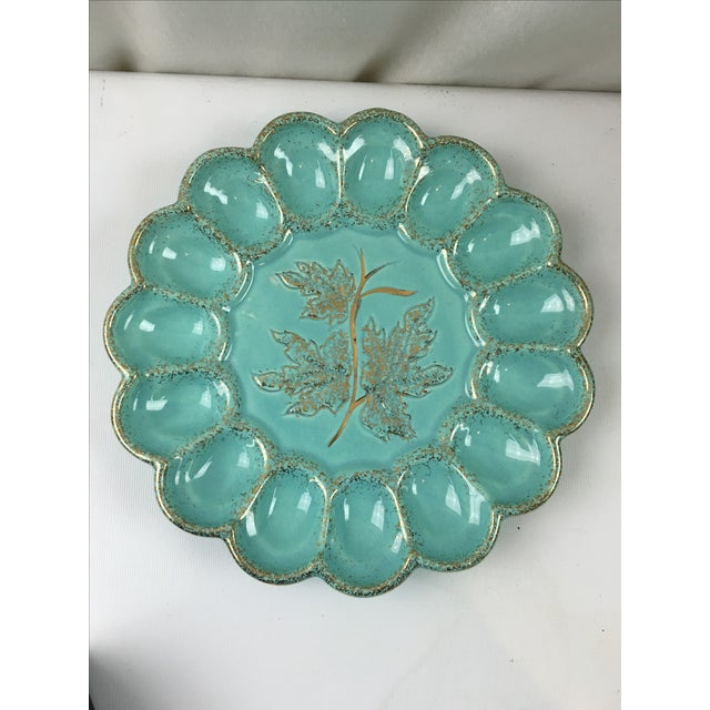Image of Mid-Century Ceramic Deviled Egg Plate