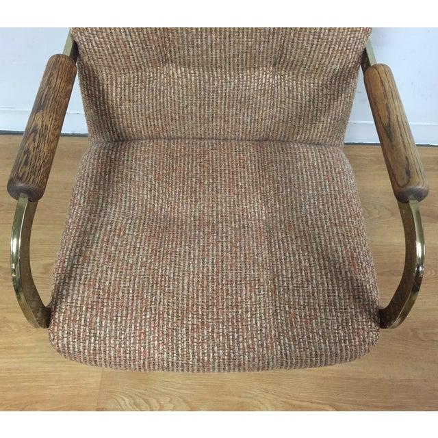 Milo Baughman Style Brass Office Desk Chair - Image 7 of 11
