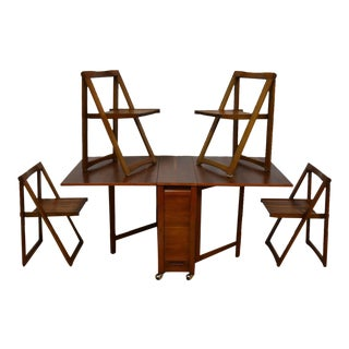 Walnut Dining Table and Self Storing Chairs - Set of 5