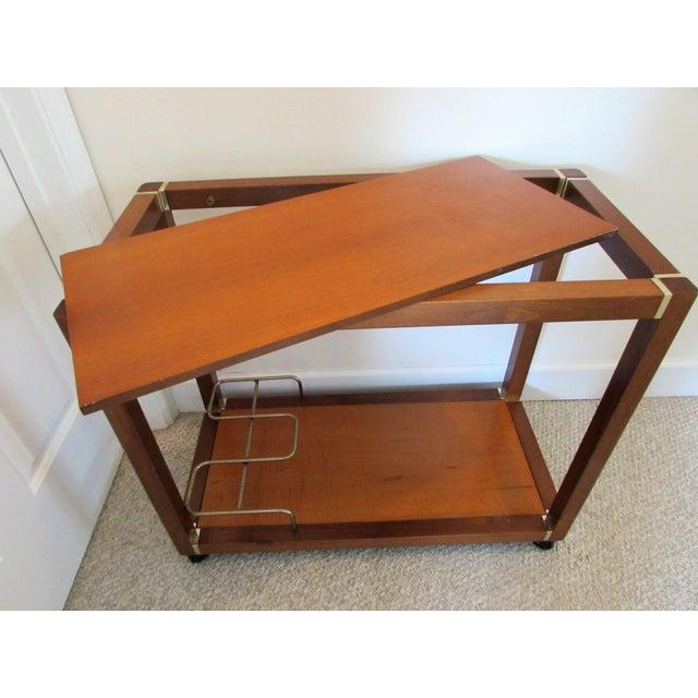 Mid Century Wood & Brass Bar Cart - Image 6 of 10