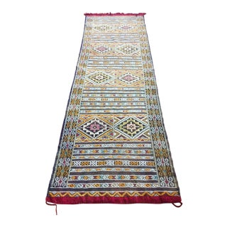 "Geometric Patterned Moroccan Wool Runner Rug - 35"" X 109"""