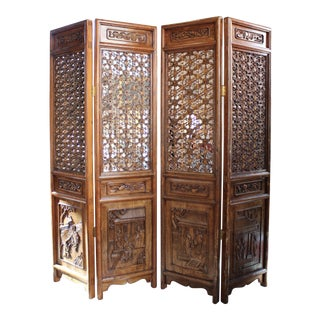 Antique Chinese Two Panel Folding Screens - A Pair
