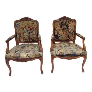 Antique French Chairs With Tapestry Upholstery - Pair