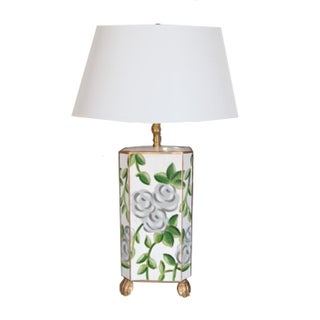 White Floral Chintz Lamp