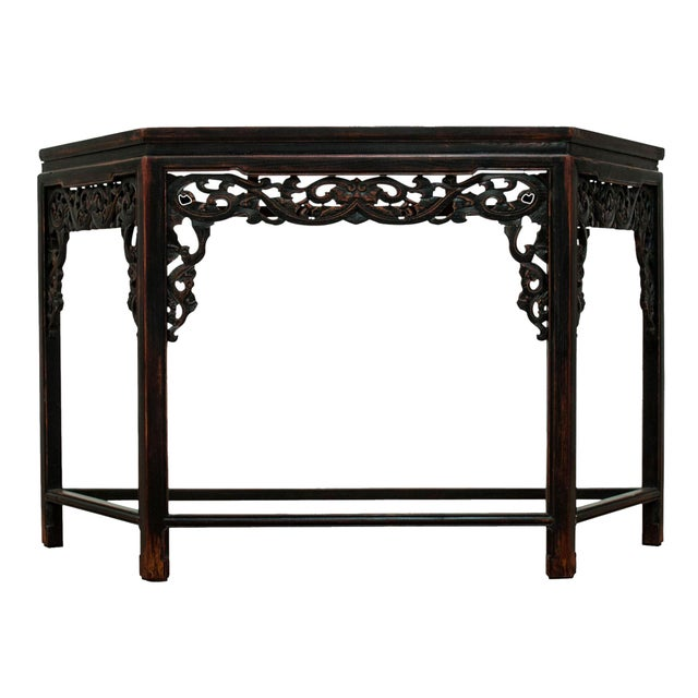 Sarreid LTD Asian Carved Wood Console Table - Image 1 of 5