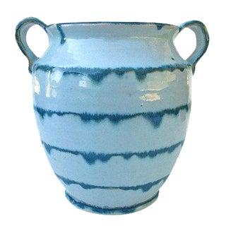 Antique Handmade Turquoise Aqua Blue Drip Pottery Vase
