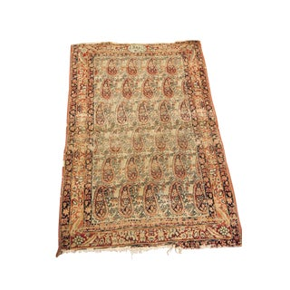 "Worn Antique Signed Kerman Rug - 2'6"" X 3'11"""
