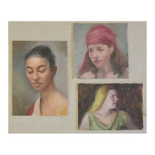 Vintage Trio Female Portrait Oil Painting Study - Set of 3