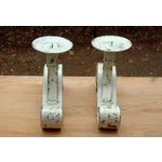 Image of French Hand Painted Bronze Candle Holders -2
