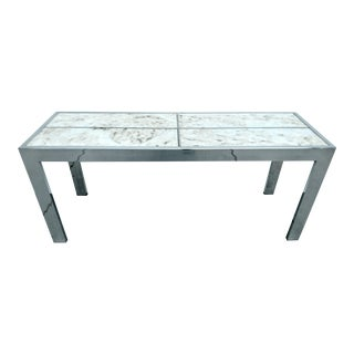 Mid-Century Chrome & Marble Console Table