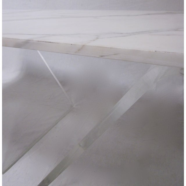 Lucite Base Coffee Table with Marble Top - Image 8 of 11