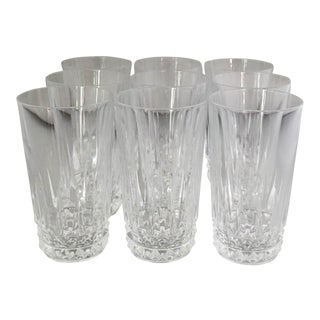 Vintage French Clear Cut Highball Glasses- Set of 9