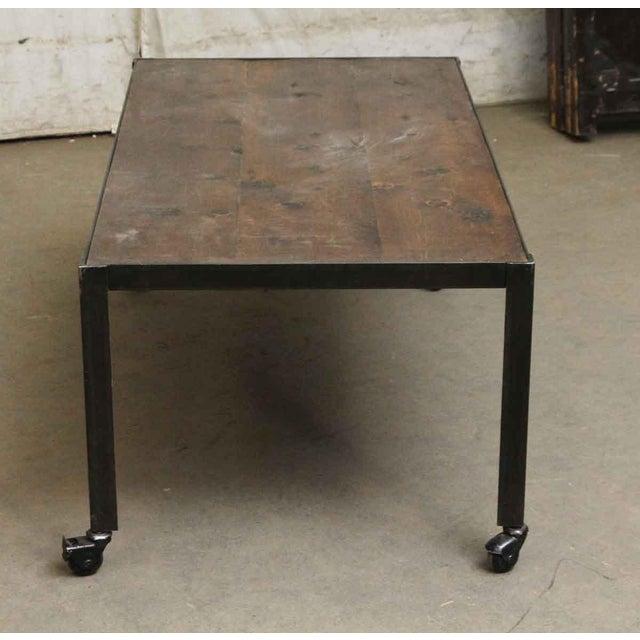 Rustic Pine Wood Coffee Table: Mid-Century Modern Rustic Crossover Pine Wood Top Coffee