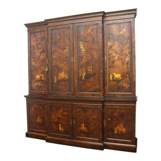 Chinoiserie George III Breakfront Bookcase with Adjustable Shelves