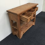 Image of Rustic Pine Three-Drawer Console Table
