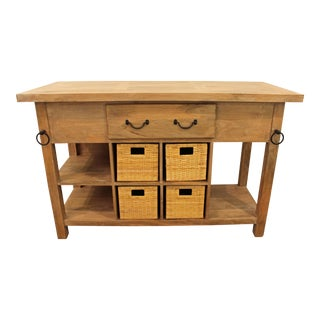 French Country Parque-Top Farm Style Mango Wood Kitchen Island/Bar