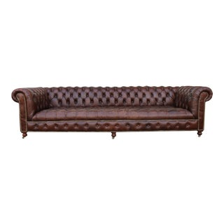 Brown Leather Tufted Big Chesterfield Sofa