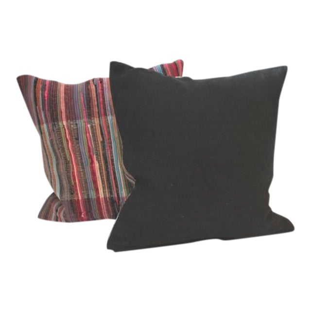 Pair of Multi Colored Rag Rug Pillows - Image 1 of 4