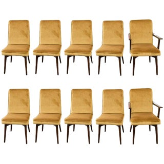 Vintage Mohair Dining Chairs - Set of 10
