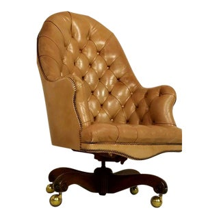 Vintage Tufted Leather Swivel Office Chair