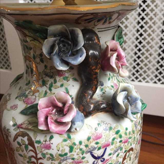 Antique Chinese Rose Medallion Vase Lamps - Pair - Image 7 of 11