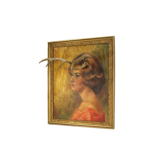 Image of Altered Vintage Painting with Antlers