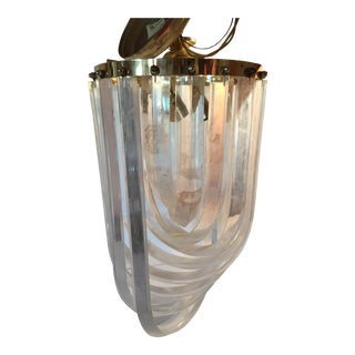 Italian Mid-Century Twisted Lucite Pendant Light