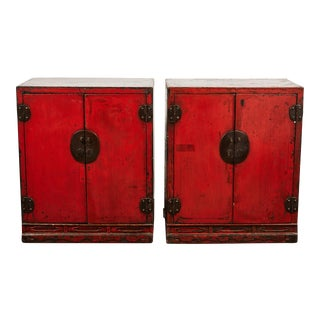 18th Century Chinese Pair of Two Door Cabinets